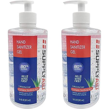 SupplyAID 80% Alcohol Hand Sanitizer Gel w/Soothing Aloe FDA # 74035-1051-5, 16 Fl Oz, Pack of 2
