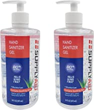 SupplyAID 80% Alcohol Hand Sanitizer Gel w/Soothing Aloe FDA # 74035-1051-5, 16 Fl Oz, Pack of 2