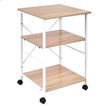 Amazon Basics Multipurpose Rolling Cart, Desk Extender, Natural