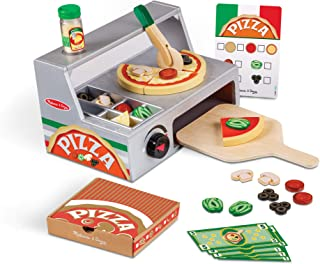 Melissa & Doug Top and Bake Wooden Pizza Counter Play Food Set (Pretend Play, Helps Support Cognitive Development, 34 Piec...