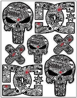 Set of 7 x Vinyl Stickers Decals Warning Funny Punisher DC Bomb Sega Car Motorcycle Helmet D 16