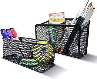 Magnetic Pen Holder, Magnetic Storage Basket Organizer, Strong mesh Metal Pencil Holder to Hold whiteboard, Fridge, Refrig...