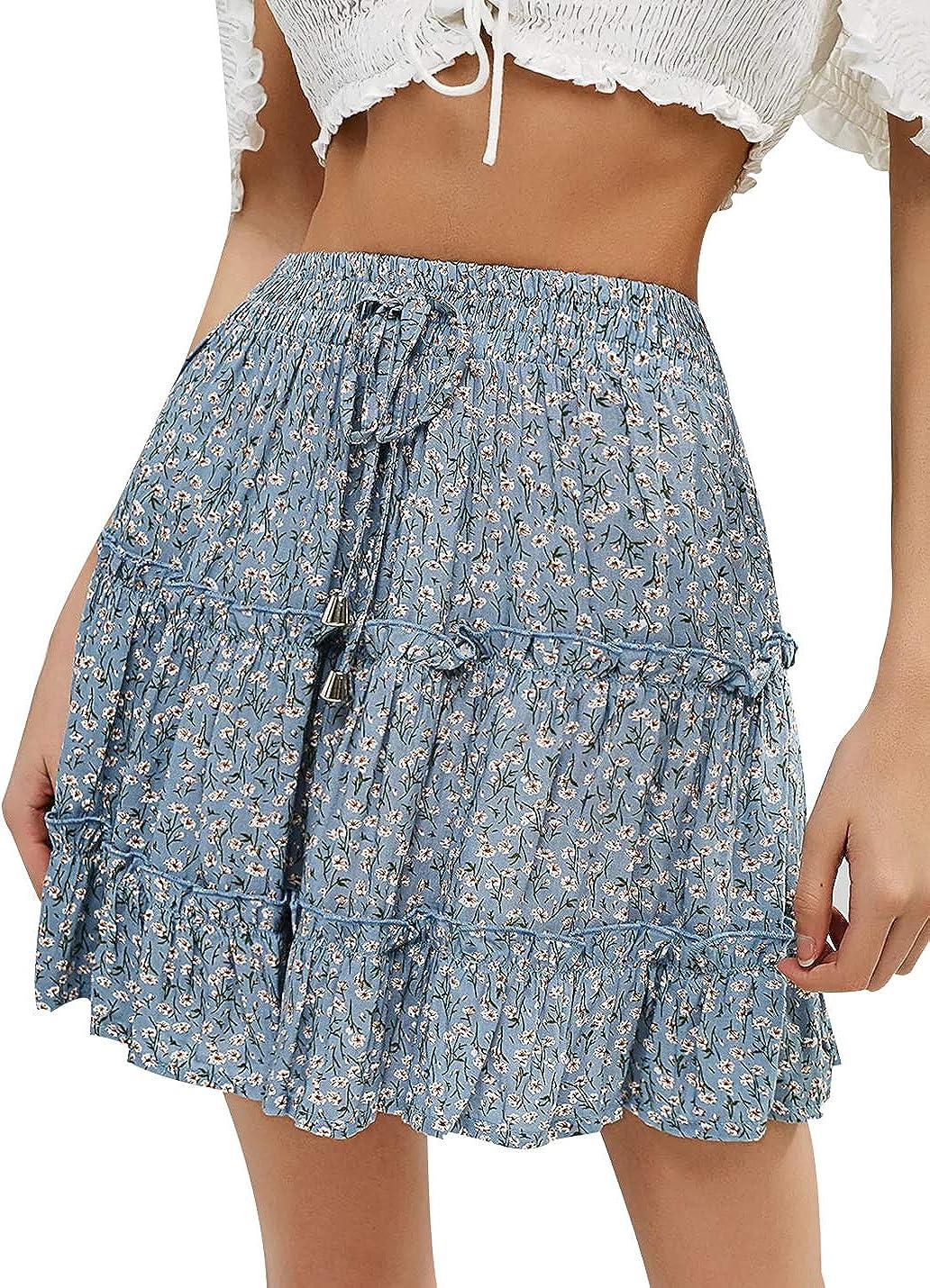 UANEO Womens Summer Floral Print Elastic High Waist Ruffle Pleated Mini Skirt