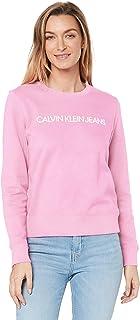 Calvin Klein Jeans Women's Institutional Regular Crew Neck T Shirt, Begonia Pink, M