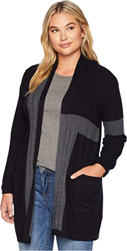 Plus Size Long Sleeve Two-Pocket Color Block Cable Knit Cardigan