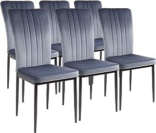ALBATROS Chaises de salle à manger Modena, lot de 6, gris, testées SGS