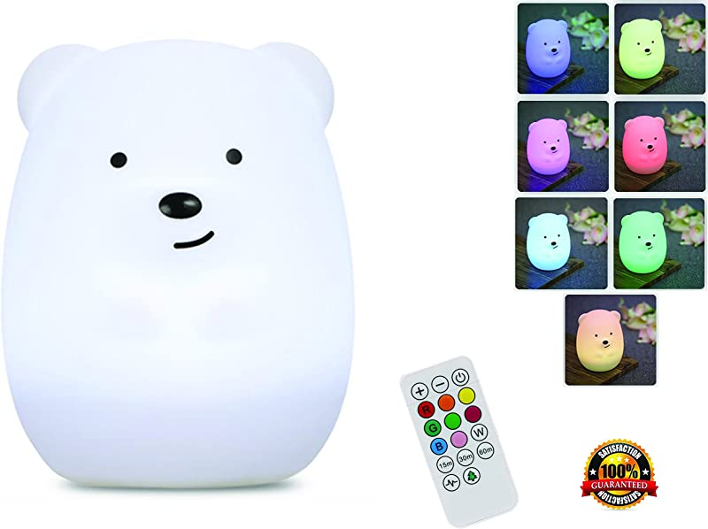 Night Light For Kids With Wireless Remote Portable Multicolor LED Animal Silicone Nursery Light 8 Colors Breathing Mode Timing For A Tranquil And Relaxing Sleep For Children Babies