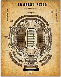 Lambeau Field Football Seating Chart - 11x14 Unframed Art Print - Great Sports Bar Decor and Gift Under $15 for Football Fans