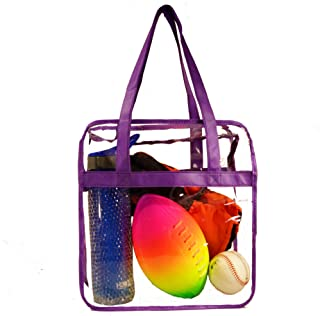 Deluxe Clear Tote Bag w/Zipper, NFL Stadium Approved Security Bag, 12x12x6, Clear Vinyl, Shoulder Straps, Heavy Duty