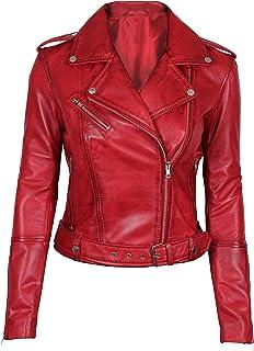 جاكت جلد أحمر من Blingsoul للنساء - دراجة نارية نمط سترة جلدية
