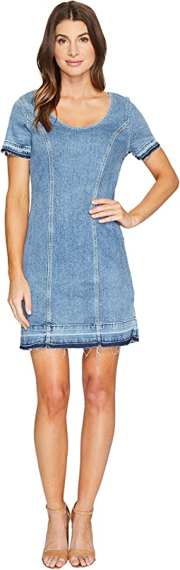 7 For All Mankind Short Sleeve Shift Dress w/ Released Hem Rockaway in Beach 2