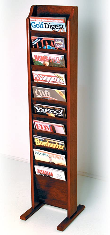 Wooden Mallet 10 Pocket Cascade Free Standing Magazine Rack Mahogany Home Kitchen
