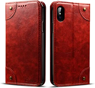 Wallet Phone Case for Apple iPhone X,TACOO Genuine Leather Card Slot Full Protection Magnetic Flip Durable Kickstand Fashion Cover for Apple 10 2017(Red)