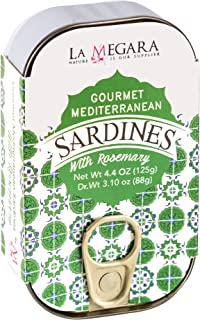 Sponsored Ad - Gourmet Mediterranean Sardines with Rosemary, Metallic Can 4.4 oz, Aromatic Flavor, Wild Caught, Healthy Sn...