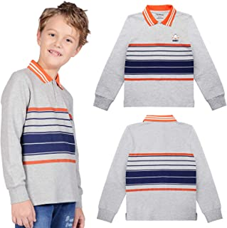 Boys Stripe Polo Shirts Cotton Long Sleeve T-Shirt Casual Tees Tops for Size 4-12
