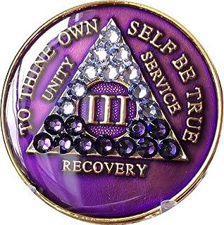 3 Year AA Medallion Purple Tri-Plate Transition Swarovski Crystal Chip III
