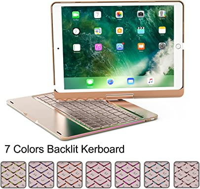 becrowmeu Wireless Tastatur f r iPad Pro  Aluminium Legierung superd nn Apple 26 7 nbsp cm iPad Bluetooth-Tastatur Folio Schutzh lle mit 7 nbsp Farben Hintergrundbeleuchtung und 360 nbsp   horizontal drehbar