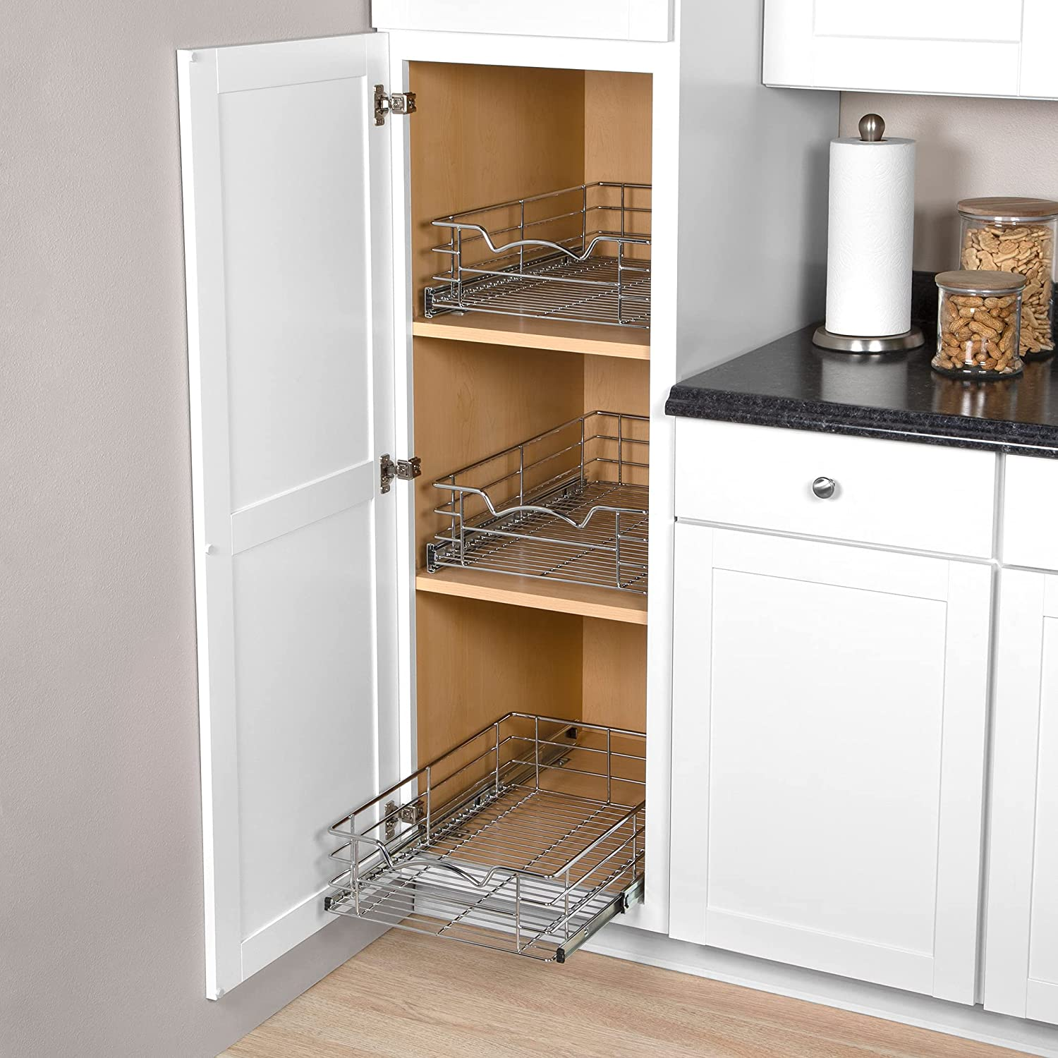 """Buy Pantry Pull Out Basket Cabinet Organizer 20"""" High – Heavy Duty ..."""