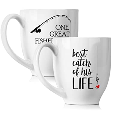 One Great Fisherman, Best Catch of His Life Coffee Mugs Set - Unique Wedding or Anniversary Gift for Couple - Funny His and Hers Cups - 15 oz