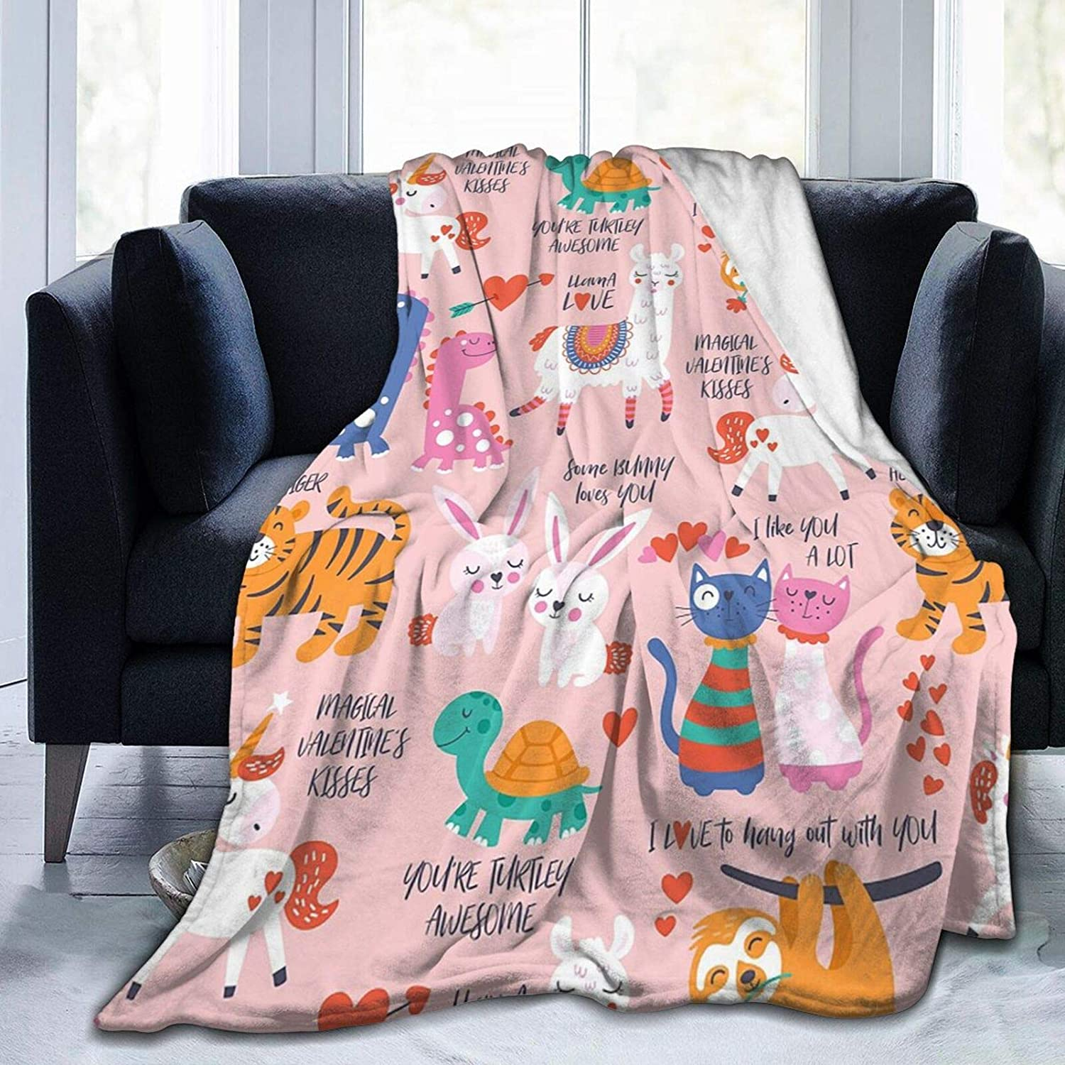 AuHomea Flannel Blanket Valentine's Fixed All items in the store price for sale Day Cute Animals with Lightw