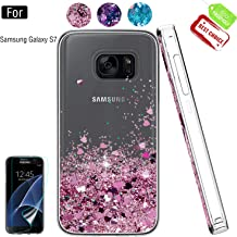 Galaxy S7 Phone Case,Galaxy S7 Case with HD Screen Protector for Girls Women,Atump Luxury Glitter Quicksand Clear TPU Protective Phone Case for Samsung Galaxy S7 Rose Gold