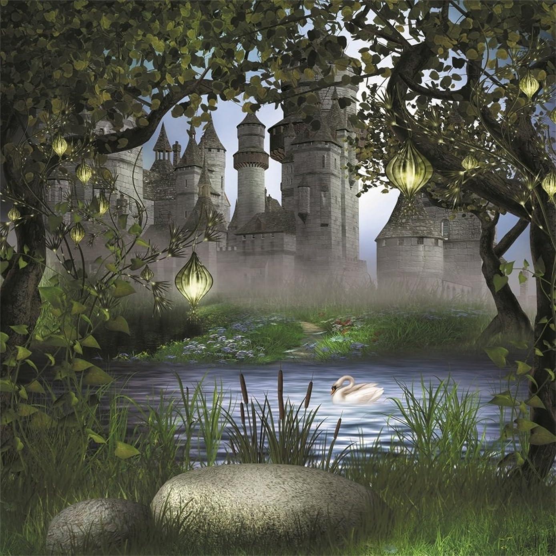 AOFOTO 7x7ft Vintage Medieval Castle Photography Backdrop Dreamy Forest Background Fairy Tale Lamp Garden Tree Leaves Lake Swan Kid Girl Boy Princess Prince Portrait Photo Studio Props Vinyl Wallpaper
