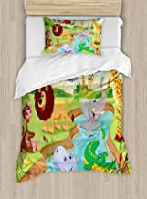 Ambesonne Children Duvet Cover Set, Cartoon Safari Animals Swimming in The Lake Elephant Lions and Giraffe Art, Decorative 2 Piece Bedding Set with 1 Pillow Sham, Twin Size, Blue Green