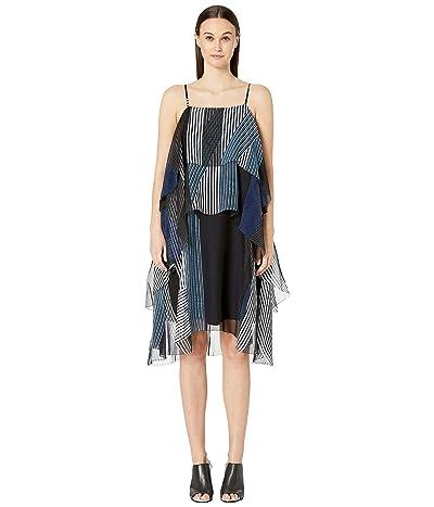 Jason Wu Collage Stripe Print Layer Dress (Dark Navy Multi) Women