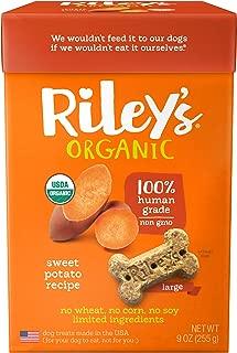 Riley's Organic Dog Treats - USDA Organic, Certified Vegan and Non GMO Project Verified Dog Biscuits - 100% Human Grade - 9 Oz Carton