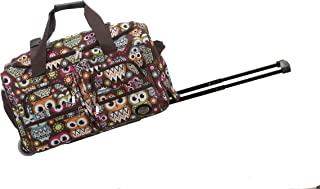 22 Inch Rolling Duffle Bag, Owl, One Size