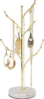 منظم حامل المجوهرات من صن نيداتي، حامل عرض مجوهرات معدني للقلائد والأقراط والإكسسوارات (شكل شجرة مع الراتنج الرخام الأبيض)