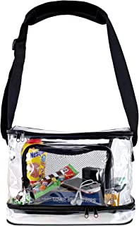 Deluxe Clear Lunch Bag Extra Large Tote With Adjustable Straps Crossbody Messenger Carryall Storage Container Heavy Duty, Water Resistant