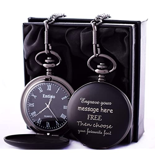 88a3afdb7 Engraved (Both Sides) BLACK Pocket Watch In Personalised Silk Gift Box