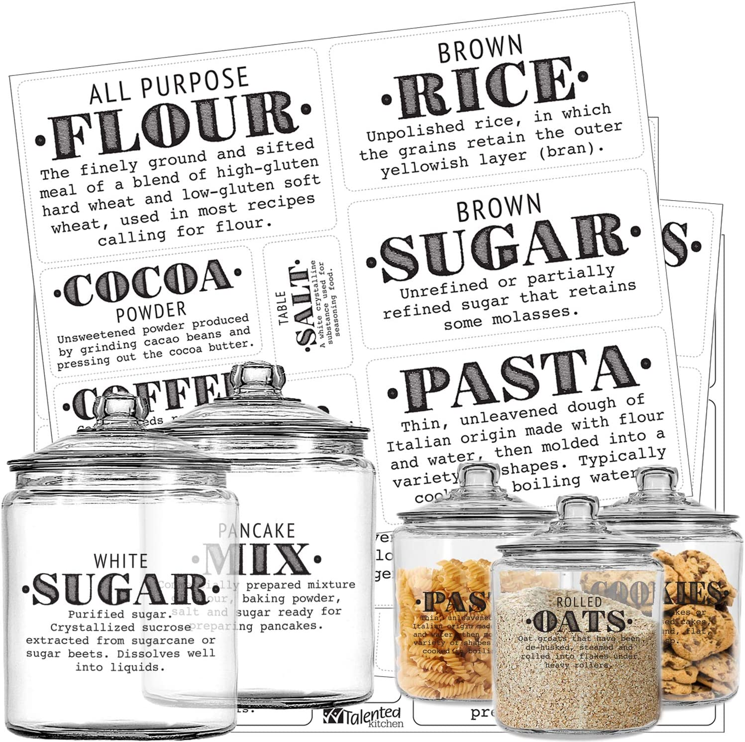 Talented security Kitchen Pantry Labels - Preprinted Definit Max 87% OFF 36 Farmhouse