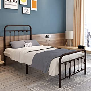 Teruel Classic New Metal Bed Frame Twin Size, Platform with Vintage Headboard and Footboard, Sturdy Metal Frame Premium Steel Slat Support, Suitable for All Decorative Styles Bedroom or Guest Room