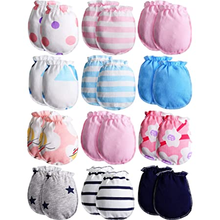 4 Pack No Scratch Mittens 100/% Cotton For Newborn Baby Boys Girls Gloves