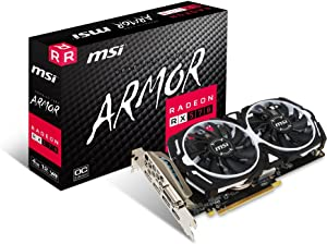 MSI Gaming Radeon RX 570 256-bit 4GB GDRR5 DirectX 12 VR Ready CFX Graphcis Card (RX 570 ARMOR 4G OC) (Renewed)