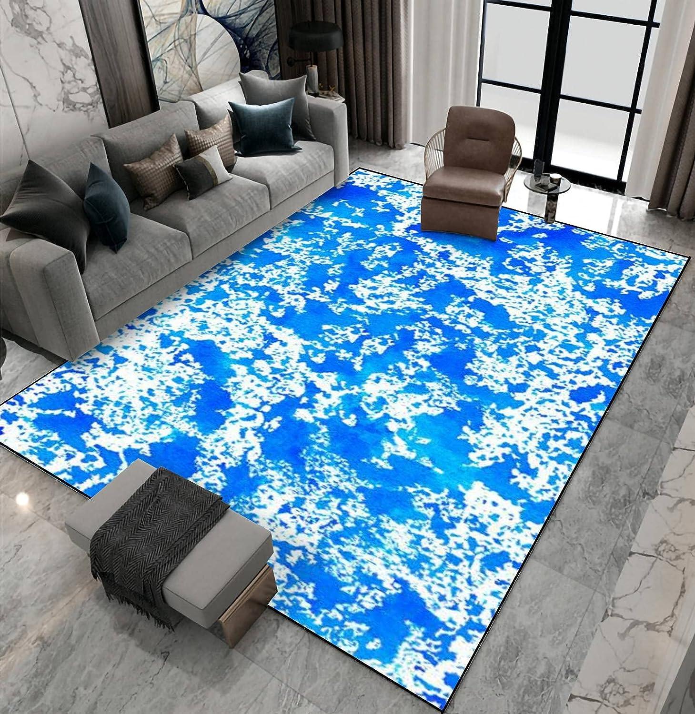 Area Rug Non-Slip Floor Mat Turquoise Waterc Abstract Under Tulsa Mall blast sales Blue Azure