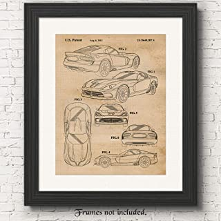 Original Dodge Viper SRT Patent Poster Prints, Set of 1 (11x14) Unframed Photo, Wall Art Decor Gifts Under 15 for Home, Office, Studio, Garage, Man Cave, College Student, American Car & Coffee Fan