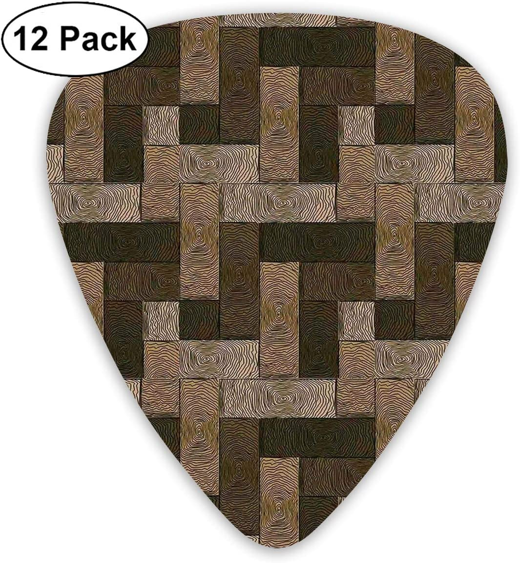 Guitar Picks12pcs Plectrum (0.46mm-0.96mm), Parquet Pattern In Wooden Style Geometric Design In Nature Inspired Art,For Your Guitar or Ukulele