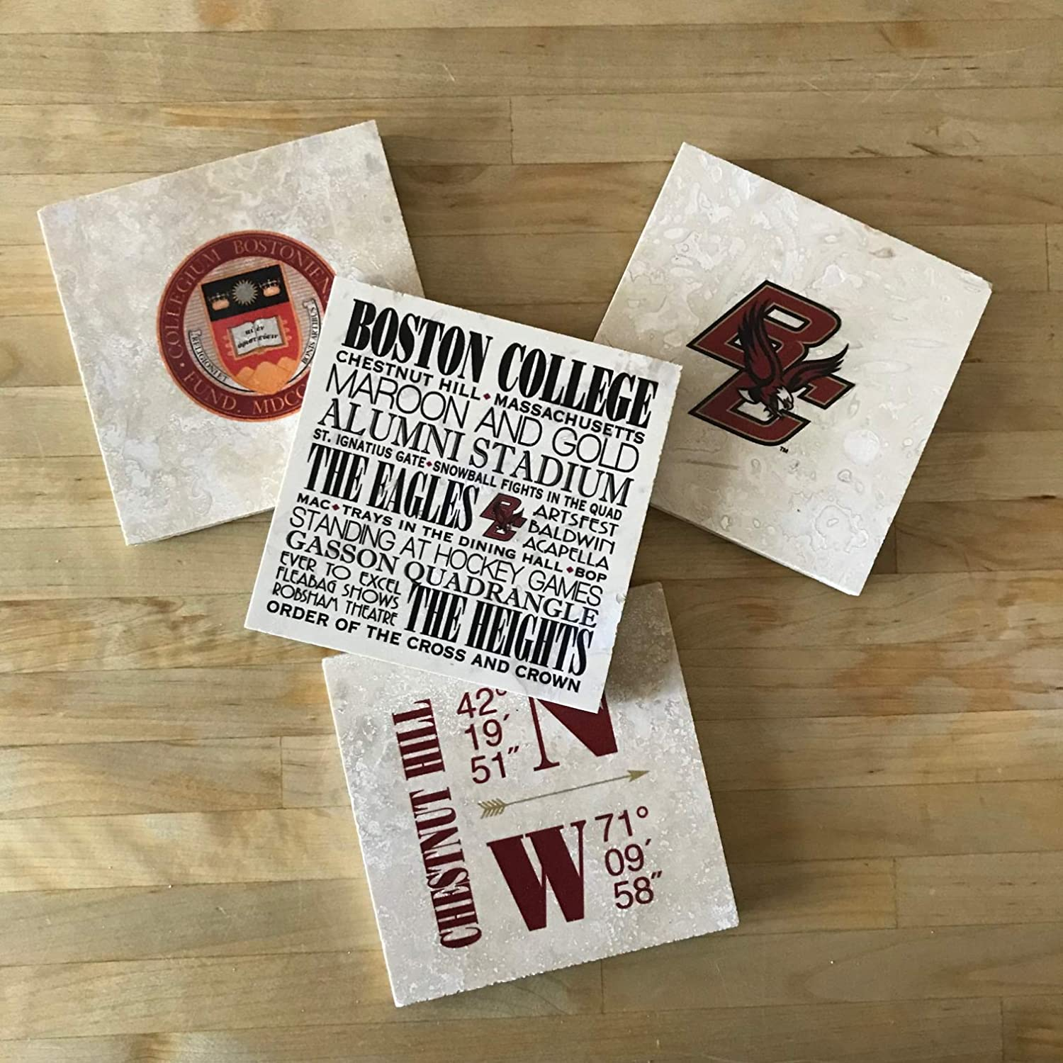 Boston College Marble Coasters 4 - of Set Cheap mail Mail order cheap order specialty store