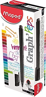 Maped Helix USA Graph'Peps Felt Tipped Pens, Pack of 12 (749114)