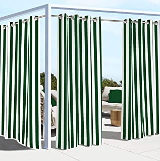 "Outdoor Décor Coastal Grommet Panel Outdoor curtains, 50"" Wide by 108"" Long, Irish green"