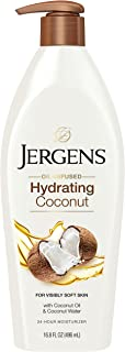 Jergens Hydrating Coconut Body Lotion, 16.8 Ounce, Infused with Coconut Oil and Water for Long-Lasting Moisture, Hydrates Dry Skin Instantly, Dermatologist Tested, White (21824)