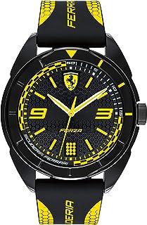 Ferrari Forza, Quartz Plastic and Silicone Strap Casual Watch, Black with Yellow Detail, Men, 830516