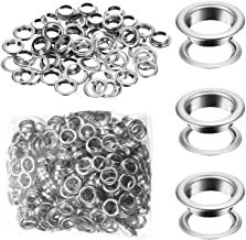 500 Pieces Grommet and 500 Pieces Washer Grommet Kit Nickel Finish Grommet Eyelet for Clothes Fabric Leather Tag Bag (3/8 ...
