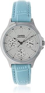 ساعة بتصميم دائري وعرض انالوج من كاسيو، طراز LTP-V300L-2A، مع سوار فضي