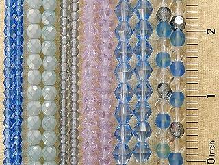 Beads - Jewelry Making - Beading - DIY Crafting 6 Strands Bulk Czech Glass Assortment Shades Blue Sapphire Opal Crystal