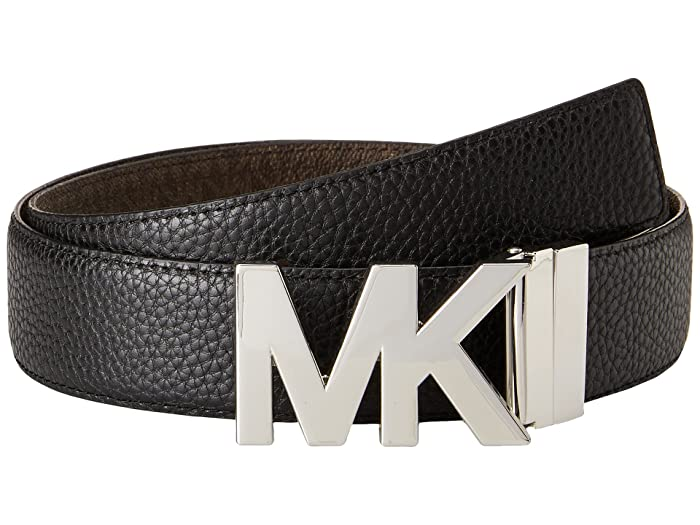 MICHAEL Michael Kors 38mm Reversible Pebble to Logo Belt on MK Plaque Buckle (Black/Chocolate) Women