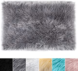 LOCHAS Ultra Soft Silky Fluffy Shag Faux Sheepskin Area Rug, Bedside Rugs for Bedroom Living Room Nursery Floor Carpet, 2 x 3 Feet, Grey